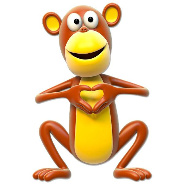 Stickers for Kids: Monkey making heart with hands
