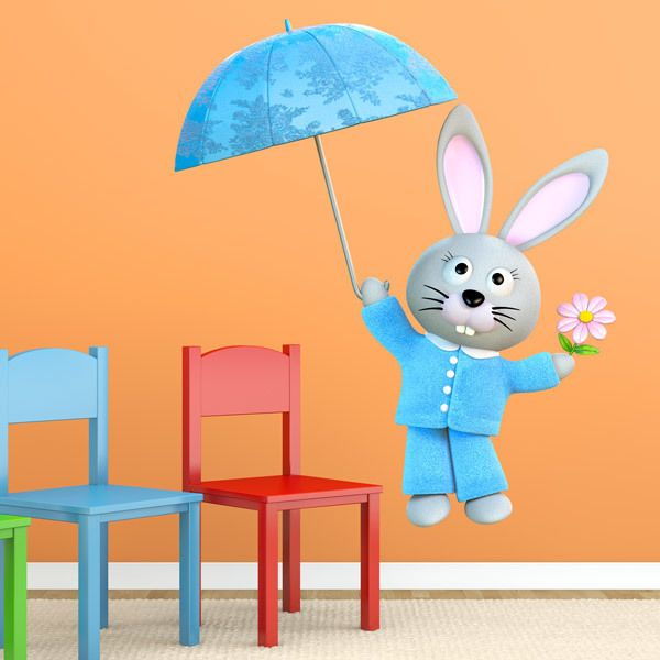 Stickers for Kids: Rabbit flying with umbrella