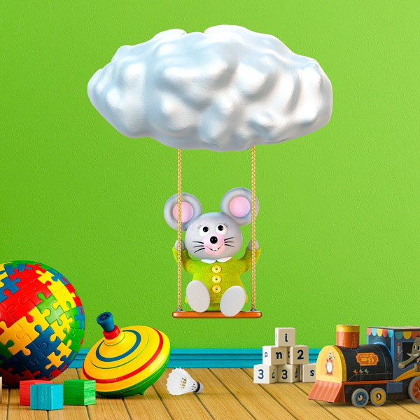 Stickers for Kids: Mouse swinging on a cloud