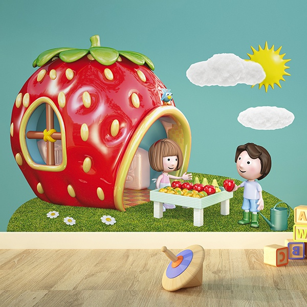 Stickers for Kids: House with form of strawberry