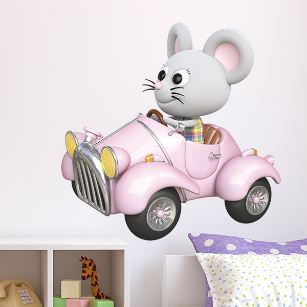 Stickers for Kids: Mouse on her pink car