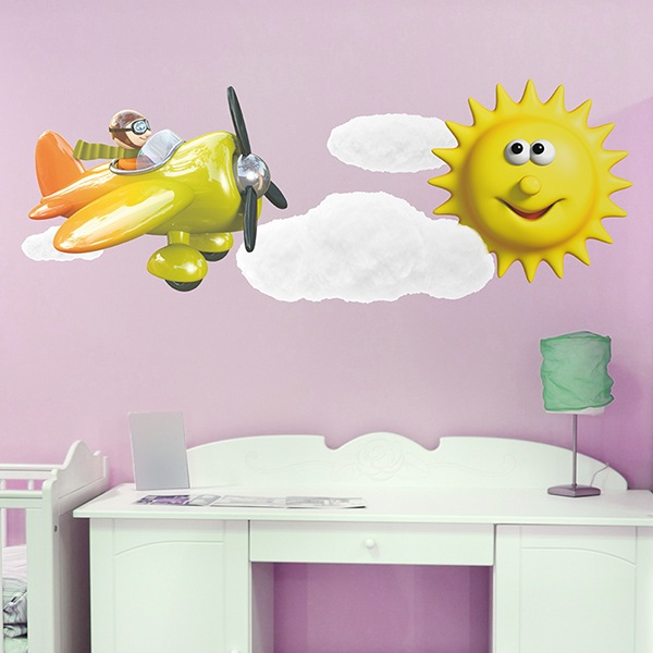 Stickers for Kids: Airplane, clouds and sun