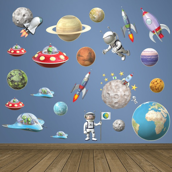 Space Growth Chart Wall Stickers Vinyl Decal Kids Room