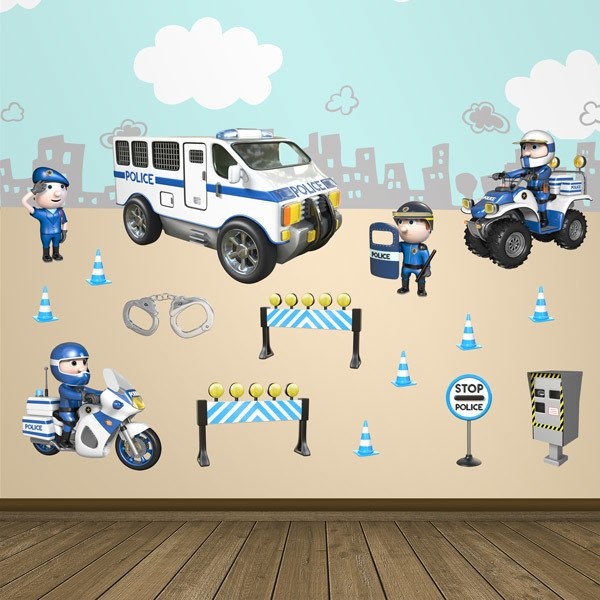 Firefighters & Police Wall Stickers for Children ...  Police