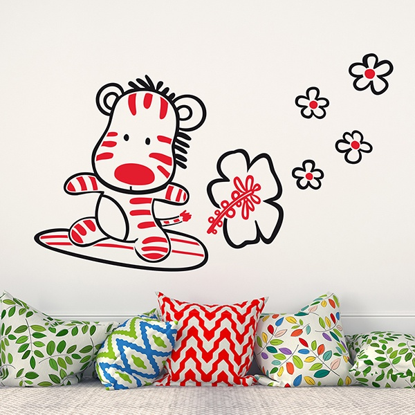 Stickers for Kids: Mulicolour Surfer