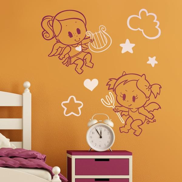 Stickers for Kids: Multicolour Angel y Demonio