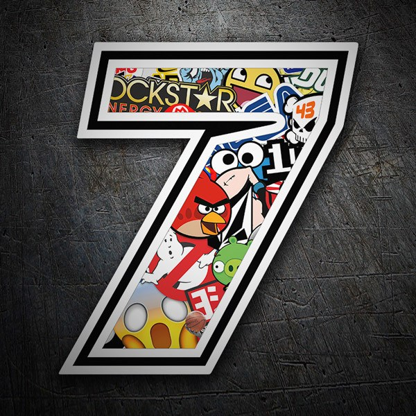 Car and Motorbike Stickers: Number 7 Speed Stickerbomb