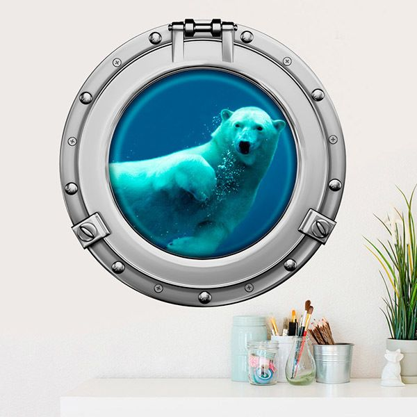 Wall Stickers: Polar bear swimming
