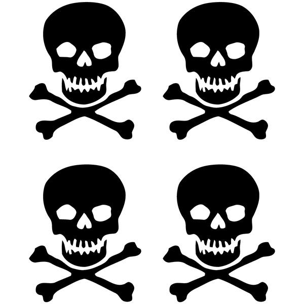 Car and Motorbike Stickers: 4 skulls set