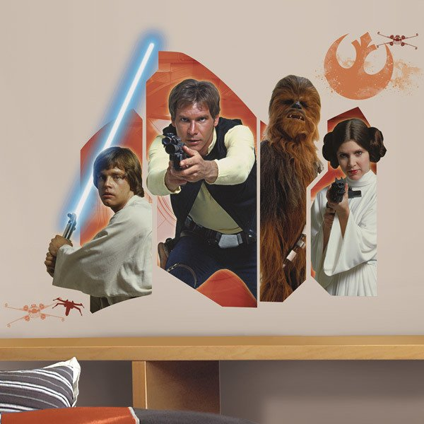 Wall Stickers: Star Wars Luke Solo Chewie and Leia
