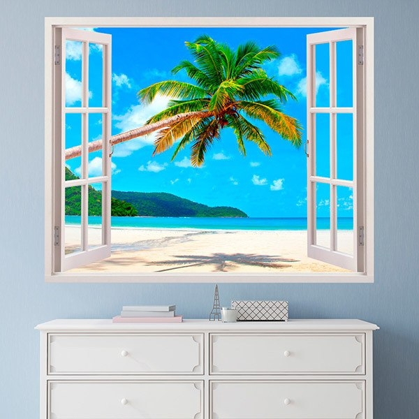 Wall Stickers: Palm tree on Caribbean beach