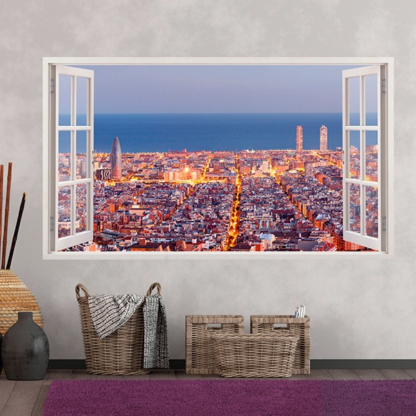 Wall Stickers: Panorama skyline of Barcelona