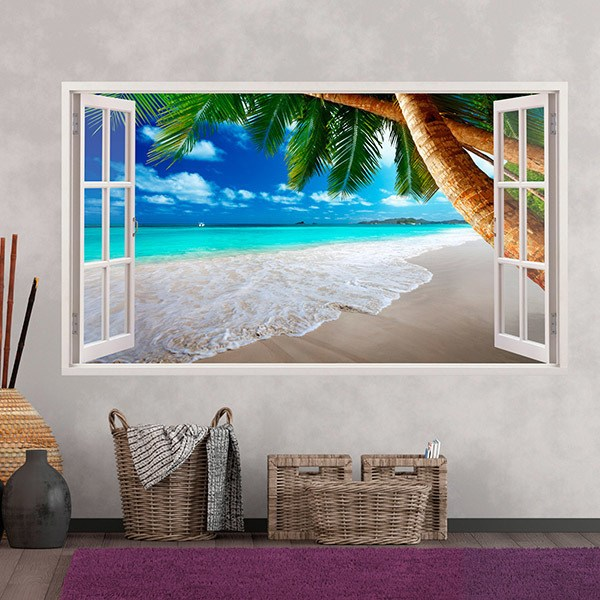 Wall Stickers: Panorama palm on beach 3
