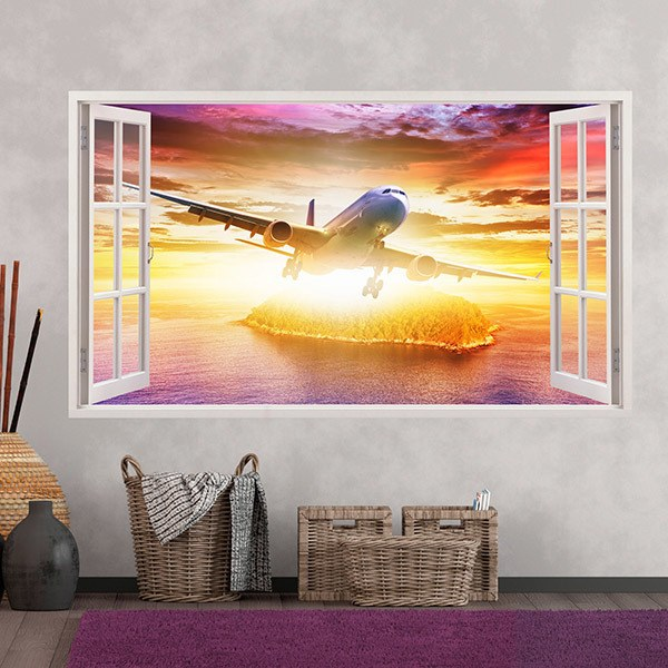 Wall Stickers: Panorama commercial plane 2
