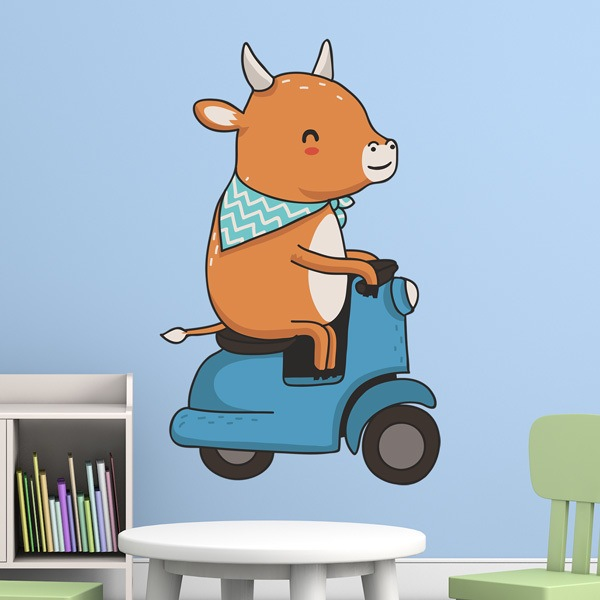 Stickers for Kids: Cow and motorcycle Vespa 1