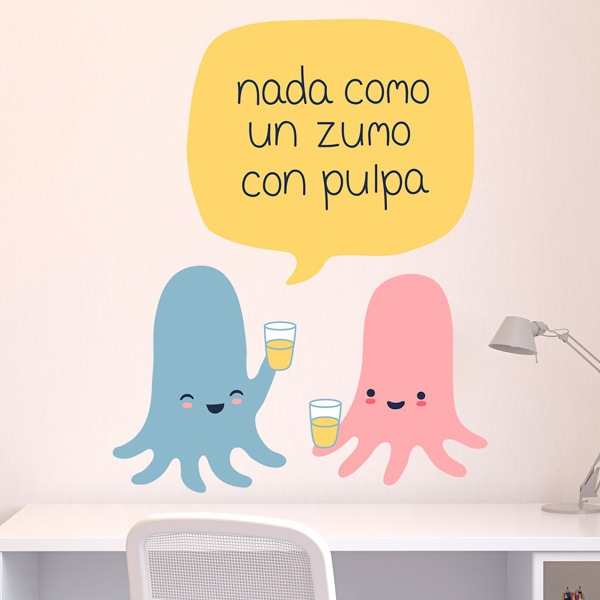 Stickers for Kids: Octopus taking juice with pulp