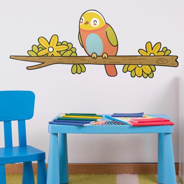 Stickers for Kids: Bird 1 on branch in winter
