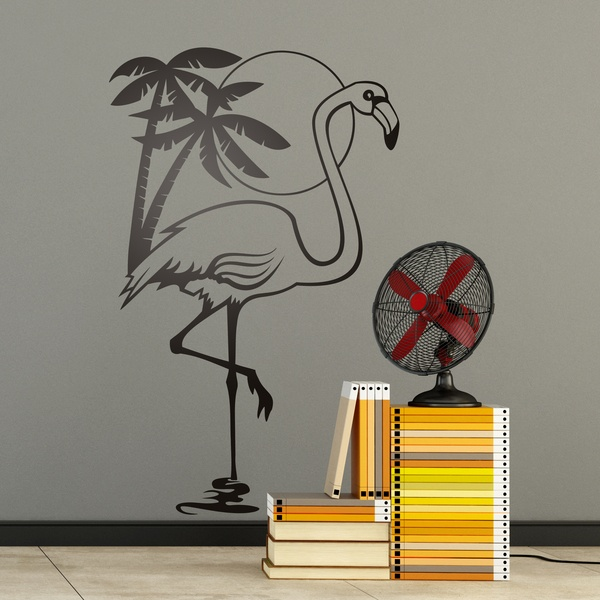 Wall Stickers: Flamingo bird, sun and palm trees