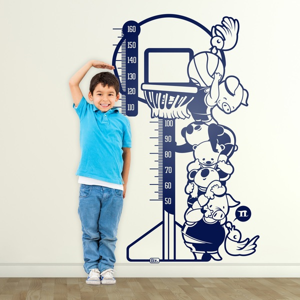 Stickers for Kids: Height Chart animals playing basketball