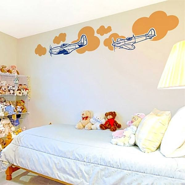 Wall Stickers: Airplanes and clouds.
