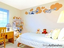 Wall Stickers: Multicolored airplanes and clouds 2