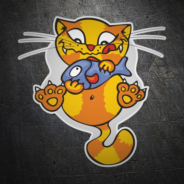 Car & Motorbike Stickers: Cat with a fish