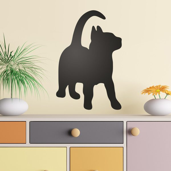 Wall Stickers: Silhouette Funny cat