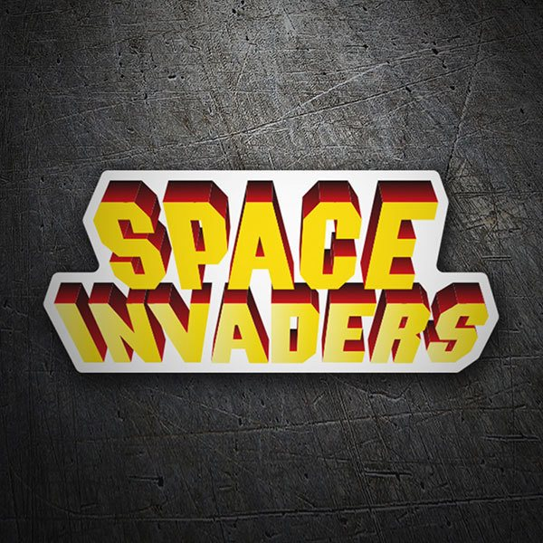 Car & Motorbike Stickers: Space Invaders 3D White