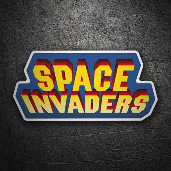Car & Motorbike Stickers: Space Invaders 3D Blue