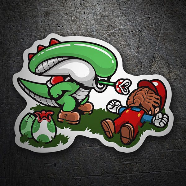 Car & Motorbike Stickers: Alien vs Mario Bros