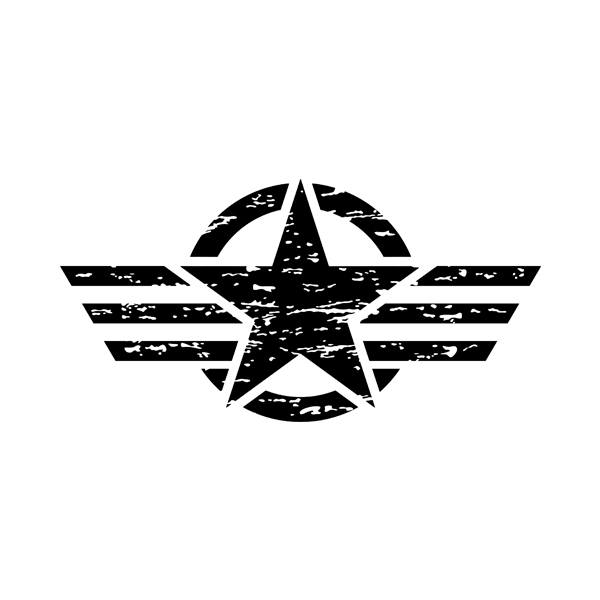 Car & Motorbike Stickers: Star US Army worn out