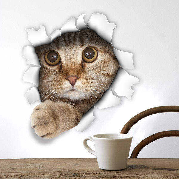 Wall Stickers: Hole kitten 1