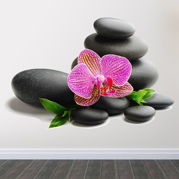 Wall Stickers: Orchid and stacked rocks