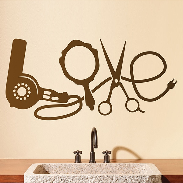 Wall Stickers: Hairdressing articles Love