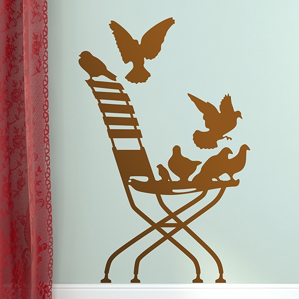 Wall Stickers: Pigeons on Chair.
