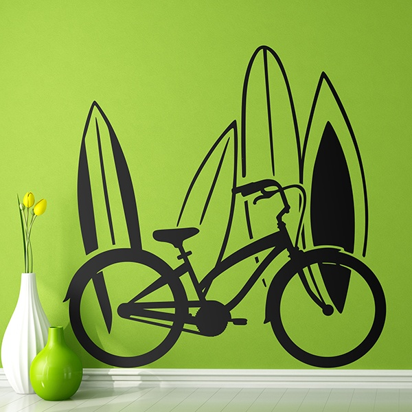 Wall Stickers: Bike and surf