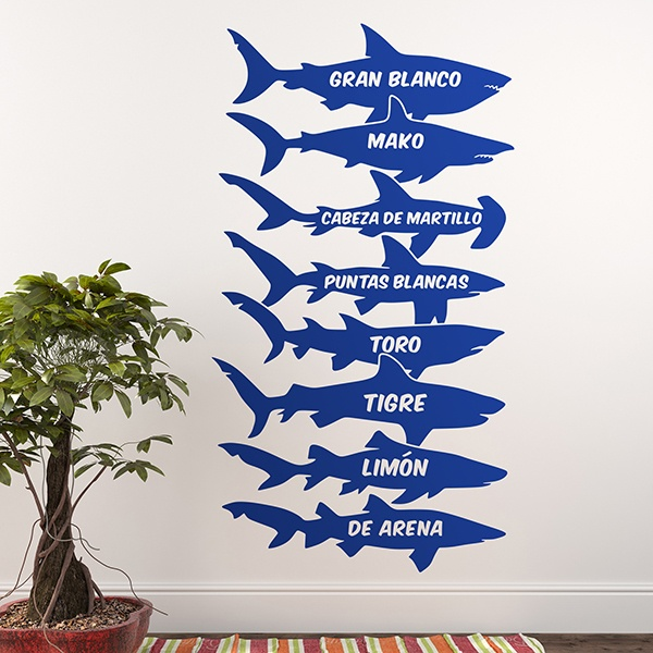 Wall Stickers: Sharks names Spanish