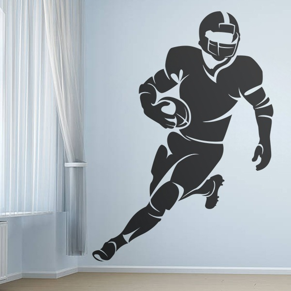 Football Player Running Ball American Sports Hero Wall Stickers Decals Vinyl Mural Decor Art L2107