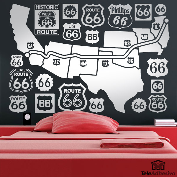 Wall Stickers: Map and logos Route 66