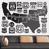 Wall Stickers: Map and logos Route 66 3