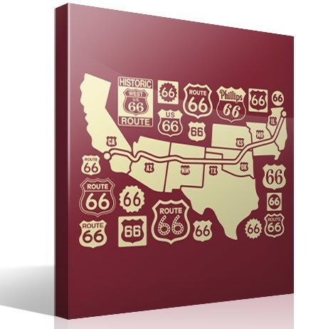Mapa Y Logos Route - Us road map wall decals