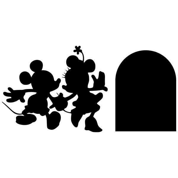 Wall Stickers: Mickey and Minnie hole skirting board
