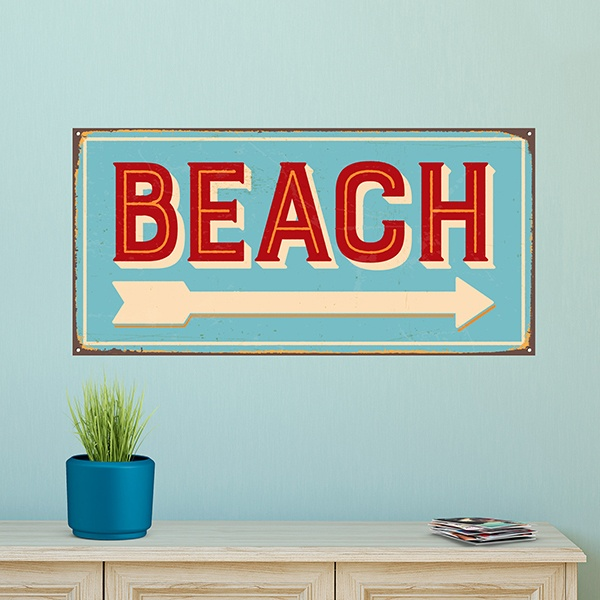 Wall Stickers: Beach sign retro 1