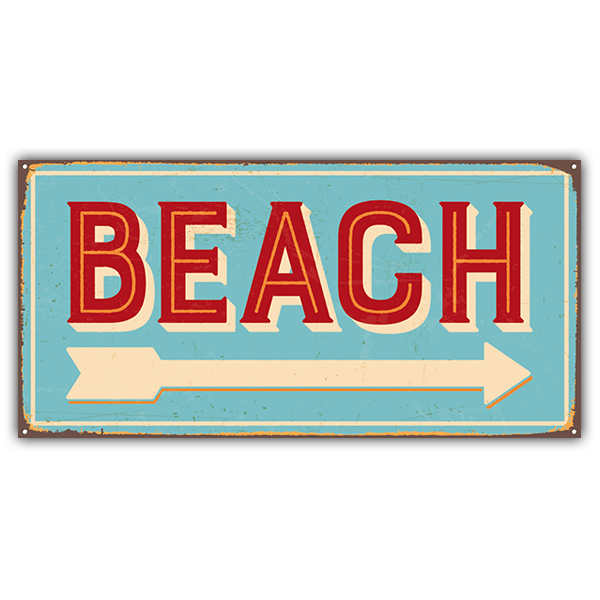 Wall Stickers: Beach sign retro 0