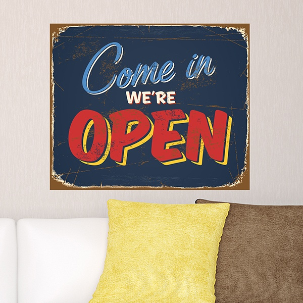 Wall Stickers: Come in we are open sign retro