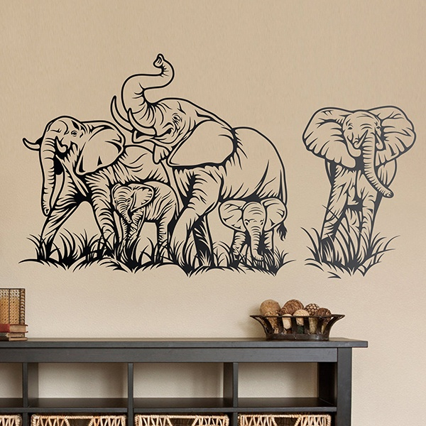 Wall Stickers: Herd of elephants 2