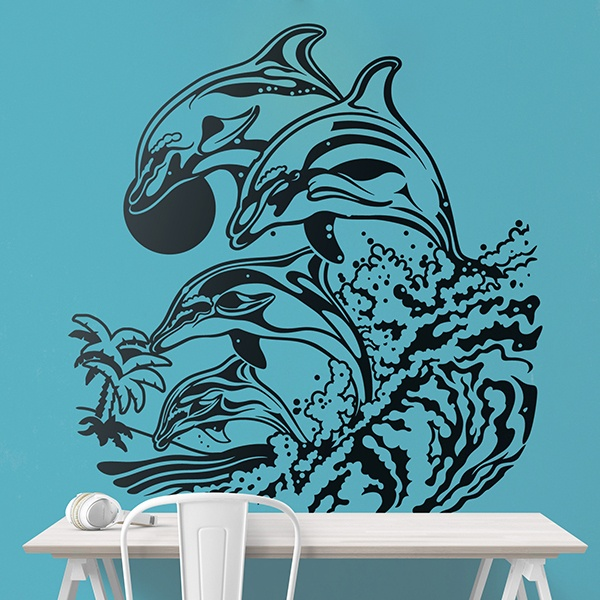 Wall Stickers: Dolphins on waves