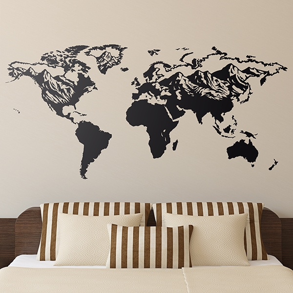 Wall Stickers: Map Mundi relief mountains