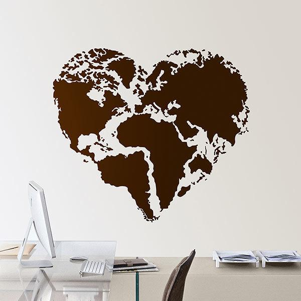 Wall Stickers: Heart Map Mundi