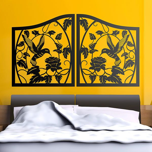 Wall Stickers: Bed Headboard Hummingbird Garden